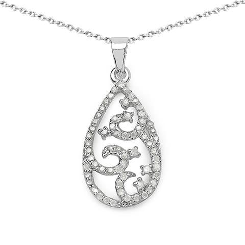 Olivia Leone Sterling Silver 3/5ct TDW White Diamond Pendant