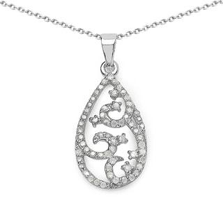 Olivia Leone Sterling Silver 3/5ct TDW White Diamond Teardrop Pendant (I-J, I2-I3)