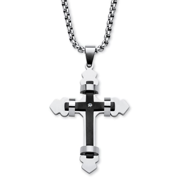 Men's Stainless Steel and Crystal Wrapped Cross Necklace