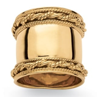 18k Yellow Gold over Silver Cigar Band-Style Ring