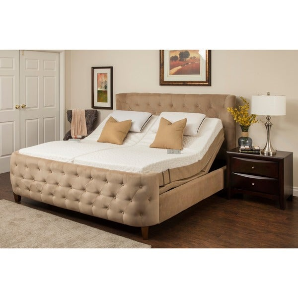 Shop Sleep Zone Malibu 12 Inch Latex Mattress And Adjustable Bed Set