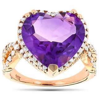 Luxurman 14k Gold 3/4ct TDW Diamond Heart and Amethyst Ring (H-I, SI1-SI2)