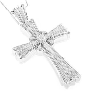 Luxurman Sterling Silver Men's 2 1/5ct TDW Diamond Cross Pendant (H-I, SI1-SI2)