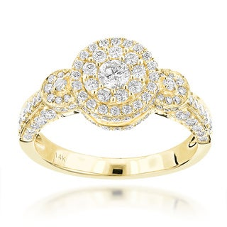 Luxurman 14k Gold 1 1/3ct TDW Multi-circle Diamond Engagement Ring (G-H, VS1-VS2)
