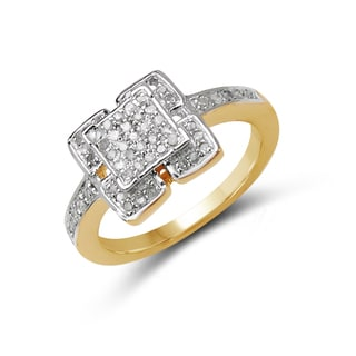 Malaika Yellow Goldplated Silver 1/4Ct Tdw White Diamond Ring