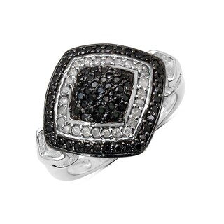 Olivia Leone Sterling Silver 3/5ct TDW White Diamond and Black Diamond Ring (I-J, I2-I3)