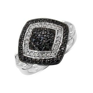 Olivia Leone Sterling Silver 3/5ct TDW White Diamond and Black Diamond Ring