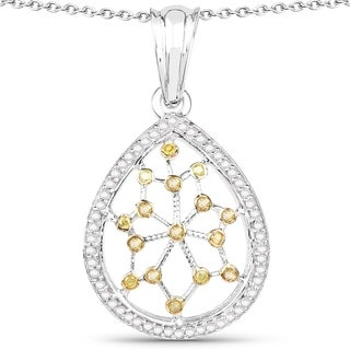 Olivia Leone Sterling Silver 1/2ct TDW White Diamond and Yellow Diamond Pendant