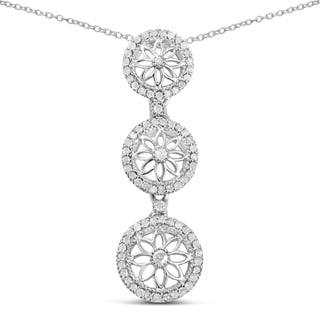 Olivia Leone Sterling Silver 2/5ct TDW Diamond Journey 3-stone Pendant (I-J, I2-I3)