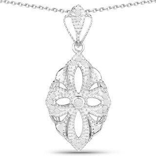 Olivia Leone Sterling Silver 1/4ct TDW Diamond Vintage Inspired Pendant