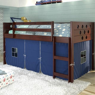 Donco Kids Twin Circles Dark Cappuccino Brazilian Pine Wood Low Tent Loft Bed