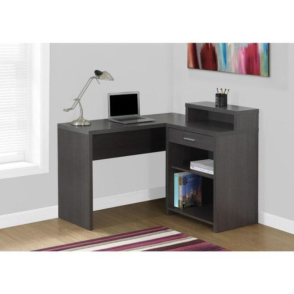shop grey corner computer desk with storage free shipping today 10951427. Black Bedroom Furniture Sets. Home Design Ideas