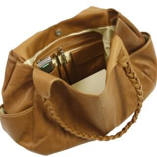 Piel Leather Braided Hobo Handbag