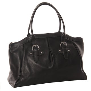 Piel Leather Large Top-Zip Buckle Satchel Handbag