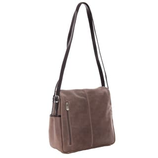 Piel Leather Top-Zip Satchel Handbag