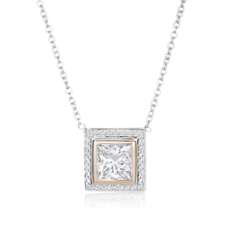 SummerRose, 18k White/Rose gold Diamond Champagne Princess Cut Pendant 2.66CTTW (GSI)