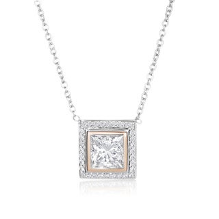 SummerRose, 18k White/Rose gold Diamond Champagne Princess Cut Pendant 2.66CTTW