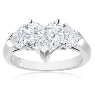 SummerRose, Platinum Diamond Heart Ring 2.81 CTTW