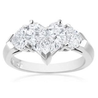 SummerRose, Platinum Diamond Heart Ring 2.81 CTTW - White (3 options available)