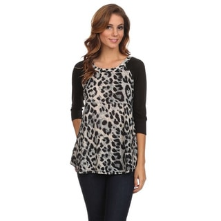 MOA Collection Women's Animal Print 3/4 Sleeve Top