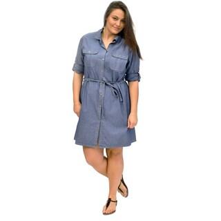 La Cera Women's Cotton Button Front Shirt Dress (3 options available)