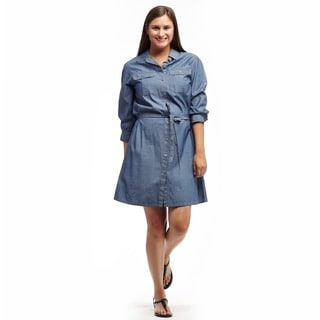 La Cera Women's Cotton Button Front Shirt Dress