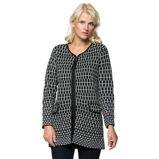 High Secret Women's Knit Black/ White Open Front Cardigan