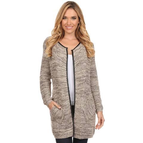 High Secret Women's Crochet Metallic Tunic-length Open Front Cardigan