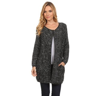 High Secret Women's Crochet Metallic Tunic-length Open Front Cardigan