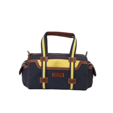 Handmade Ivory Tag Getaway Canvas and Leather Duffel Bag (India)