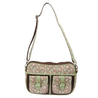 Handmade Ivory Tag Minted Floret Crossbody Bag (India)