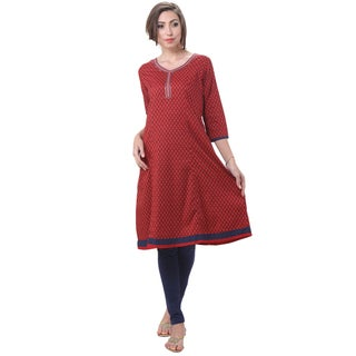 In-Sattva Women's Indian Leaf Print Embellished Neck Kurta Tunic (India)