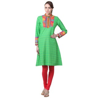 In-Sattva Women's Indian Floral Trim Striped Kurta Tunic (India)