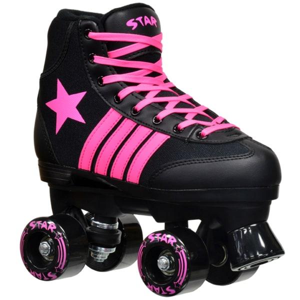 Epic Star Vela Black and Pink Quad Indoor/ Outdoor High-Top Quad Roller Skates