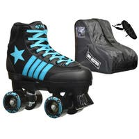 Epic Star Hydra Black and Blue High-Top Quad Roller Skates Package