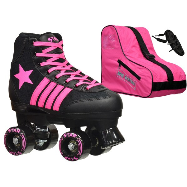 Epic Star Vela Black and Pink High-Top Quad Roller Skates Package