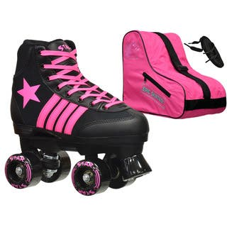 Epic Star Vela Black and Pink High-Top Quad Roller Skates Package|https://ak1.ostkcdn.com/images/products/10951571/P17977804.jpg?impolicy=medium