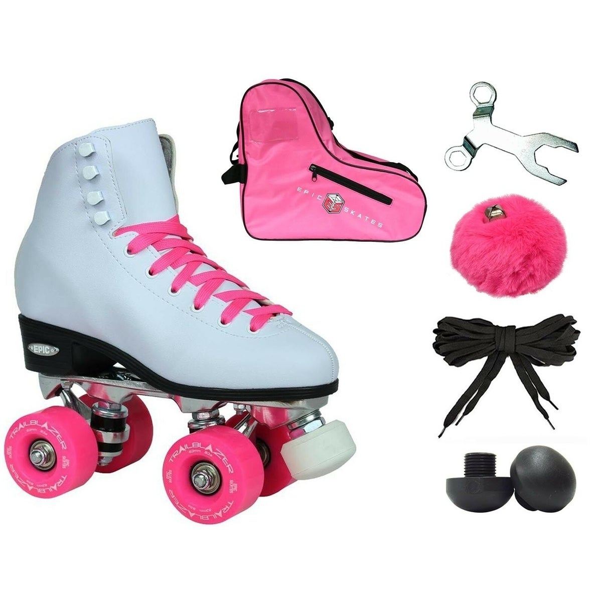 Epic White and Pink Classic High-Top Quad Roller Skate Bu...