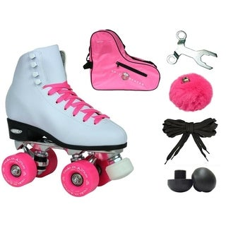 Epic White and Pink Classic High-Top Quad Roller Skate Bundle with Pink Skate Bag, PomPoms and 2 Pair of Laces