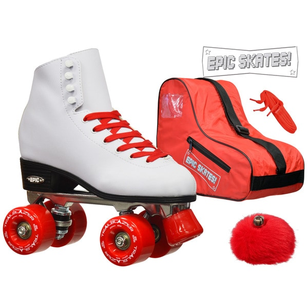 Epic White and Red Classic High-Top Quad Roller Skate Bundle with Bag, Laces, and PomPoms
