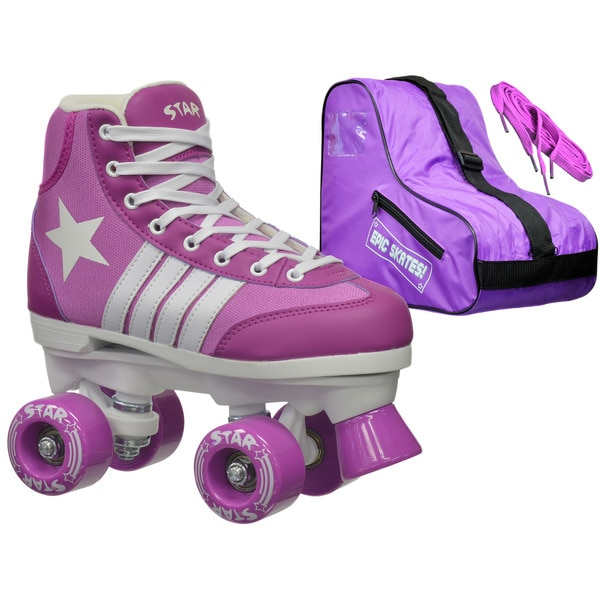 Epic Star Pegasus Purple High-Top Quad Roller Skates Package