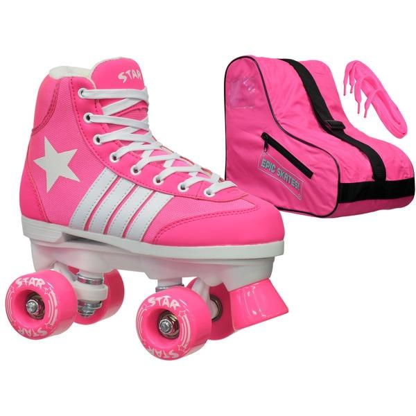 Epic Star Carina Pink High-Top Quad Roller Skates Package