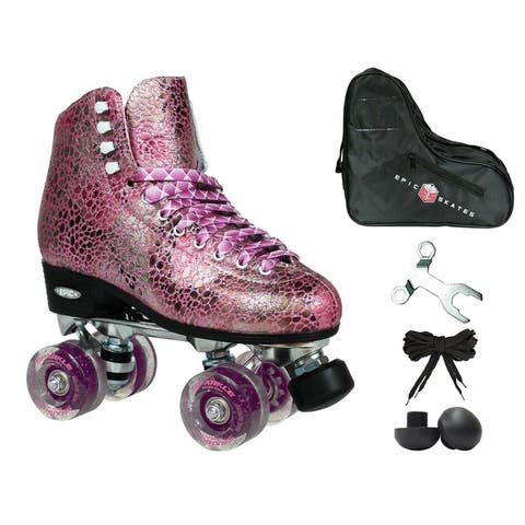 Epic Sparkle Pink Metallic High-Top Quad Roller Skates Package