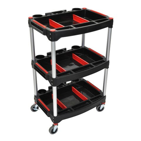 """Luxor Rolling 3 Shelf Mechanics Tool Storage Utility Cart with 3"""" Casters - Red/Black"""