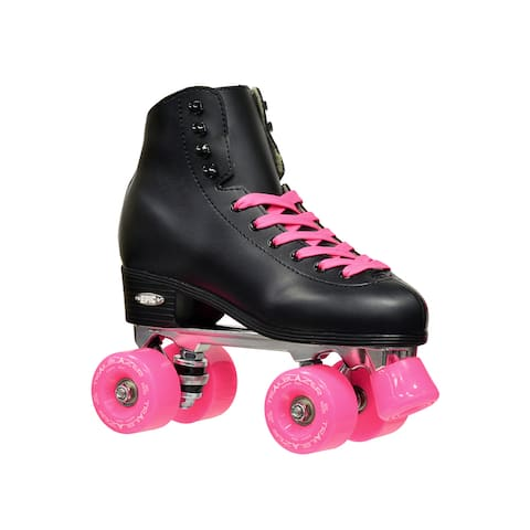 Epic Classic Black and Pink High-Top Quad Roller Skates