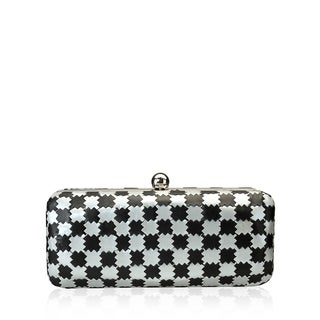 Jasbir Gill JG/SL/CL172 Silver and Black Leather Clutch (India)