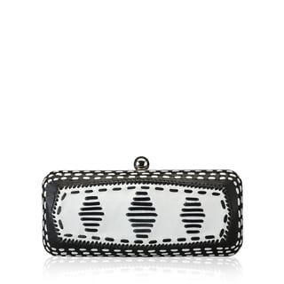 Jasbir Gill JG/SL/CL030 Black and White Leather Clutch (India)