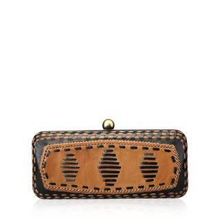 Jasbir Gill JG/SL/CL029 Black and Tan Leather Clutch (India)