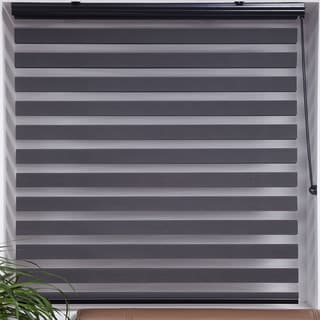 Upscale Designs Sheer Grey Striped Roller Blind