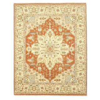 Hand-knotted Wool Rust Traditional Oriental Agra/Serapi Rug (8'1 x 10'2)